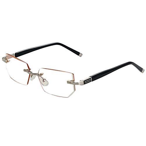 Aroncent Dioptria 1.00-3.50 Herren-Brille Anti-Licht, Anti-Ermüdung ohne Rahmen Ultraleicht, Dioptria Diottria 3.50