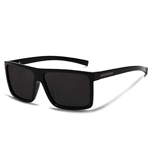 FEYGB Sonnenbrillen Herren Sonnenbrille Polarisierte Flat Top Sonnenbrille Driving Sun Brille Male Rectangle Style, Schwarz