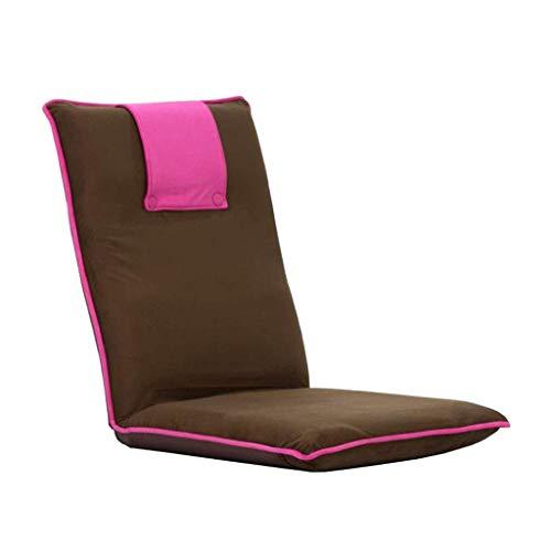 Willsego lettino pieghevole per lettino da gioco 6 posizioni regolazione dello schienale divano lazy lounge meditazione computer flanella (caffè + rosa) (colore : -, dimensione : -)