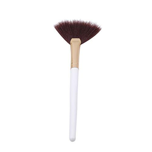 Kingus Große Fächerförmige Make-up Pinsel Holzgriff Weiche Gesichtspuder Foundation Kosmetik Pinsel Make-Up-Tools, weiß