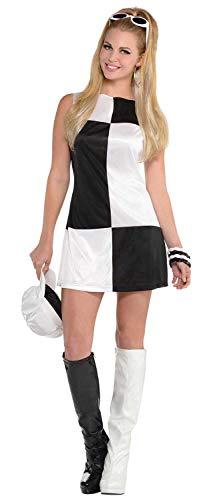 Fancy Me Damen-Kostüm, Schwarz/Weiß, 60er / 60er / Sixties Mods & Rockers Junggesellinnenabschied, Karnevalskostüm, Größe - Mods Und Rocker Kostüm