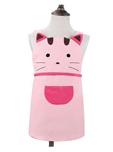 Kostüm Cupcake Kinder Machen - Cute Mädchen Kids Toddler Cartoom Cat Bestickter Schürze Baumwolle Kinder Schürze Chef Küche Kochen Backen Schürze für Kinder 2-4Jahren (Pink)