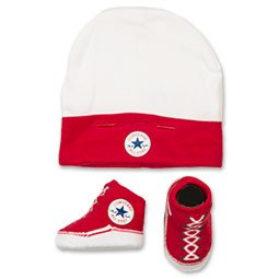 11599209 CNV008- TWIN SET HAT/BOOTIE RED/WHT PLU 121A Colour: RED/WHITE / Size: ONE SIZE / (Rot Converse Baby Schuhe)