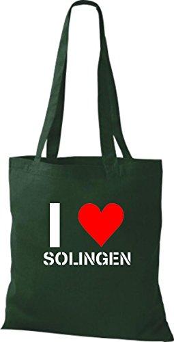 T-shirt Di Stoffa Tinta Unita Mi Piace La Tua Città Di Colore Verde Bottiglia