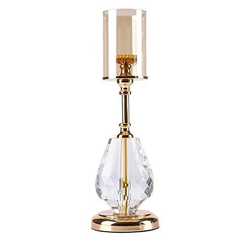 Bougeoirs Dorés ,Bougies Tea Light Verre Cristal Dîner Aux Chandelles Décorations De Table Cadeaux De Mariage (Taille : Height - 38cm)