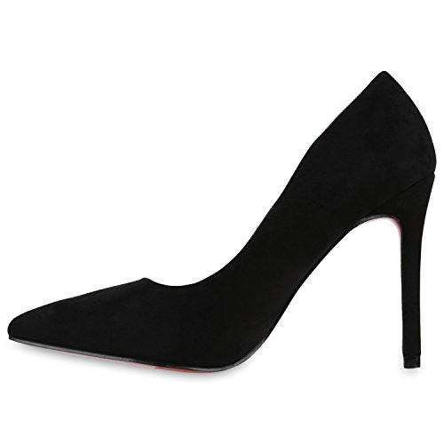 Spitze Pumps Damen High Heels Riemchenpumps Lack Cut-Outs Quasten Riemchen Stilettos Rothe Sohle Schuhe 129732 Schwarz 40 | Flandell - 2