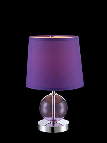 Cm Hauteur Tissu Lilas 30 Verre Interrupteur Diametre Violet Poser Chrome Lampe A 18 jL35A4Rq