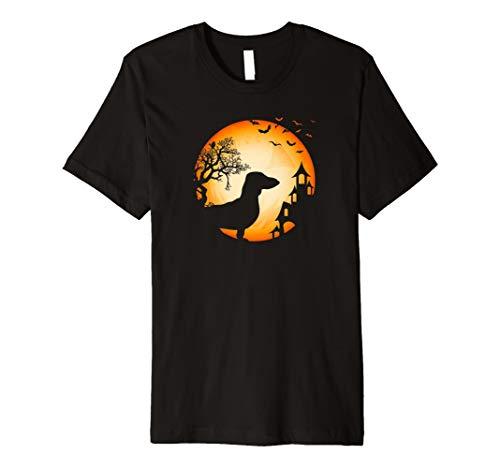 Dackel Halloween T-Shirt Hunde-Silhouette Grusel Mond