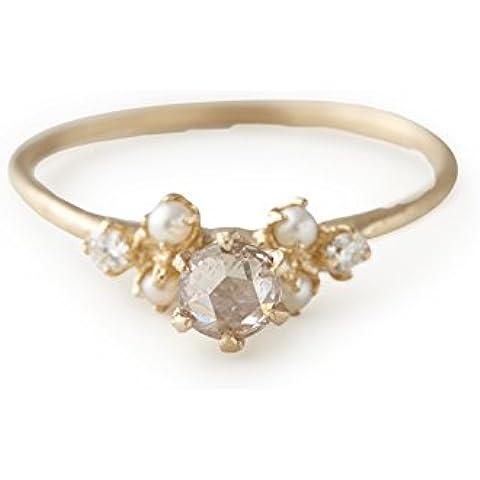 Cherry Brown 'Seed'-Anello in oro giallo 10 ct, con perla semi e diamante, taglio a diamante, motivo: rosa, misura M