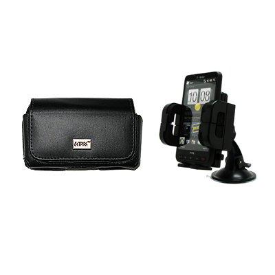 EMPIRE Verizon LG Extravert Schwarz Leather Leder Case Tasche Hülle Pouch + Adjustable Auto Windschutzscheibe Berg