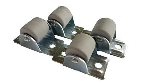 (Packung mit 4 Stück) 22 mm Gummirollen mit Metallplatte Möbelgerät & Zubehör Set