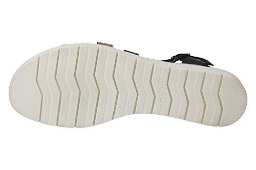 Gabor Shoes 22.394_Gabor Damen T-Spange Sandalen schwarz/roccia