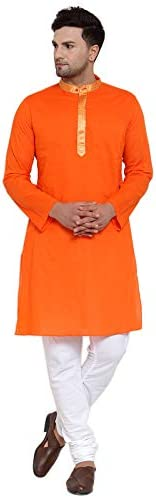 NEUDIS by Dhrohar Cotton Long Kurta & Churidar Pajama Set For Men - Or