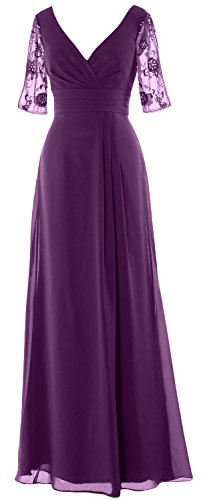 MACloth Women Half Sleeves Long Mother of the Bride Dress V Neck Formal Gown Eggplant
