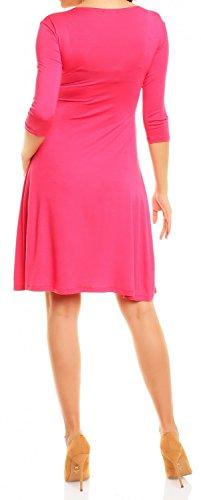 Zeta Ville - Maternité Robe grossesse manches 3/4 col en V - femme - 282Ac Fuchsia