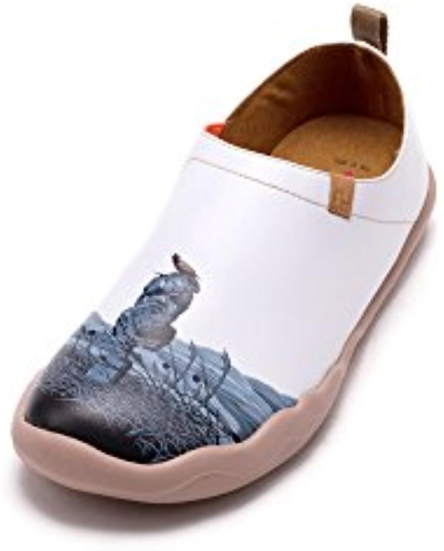 UIN Reliquia Zapatos pintados de cuero blanco para los hombres