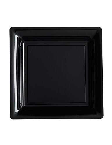 12 Petites Assiettes Carrées en Plastique Noir 18 cm