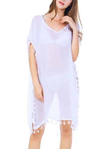 Strandponcho Strandkleider Bikini Cover Up Sexy Beach Bikini Dress Damen Bademode Boho Sommerkleid große größen Sommer Blusen Strandhemd (one size, Weiß)