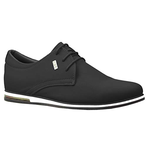 Mens New Casual Black Suede Smar...