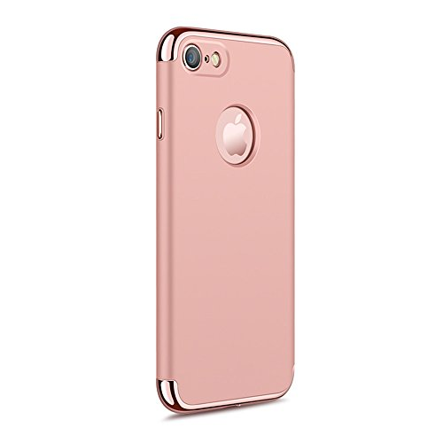 """iPhone 7 4.7"""" Case,Heyqie 3 in 1 Ultra-thin 360 Full Body Anti-Scratch Shockproof Hard PC Non-Slip Skin Smooth Back Cover Case with Electroplate Bumper For Apple iPhone 7 4.7"""" - Black Rose Gold"""