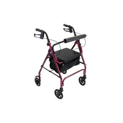 Roscoe Medical 30020 Z600 Rollator with Padded Seat, Burgundy by Roscoe Medical