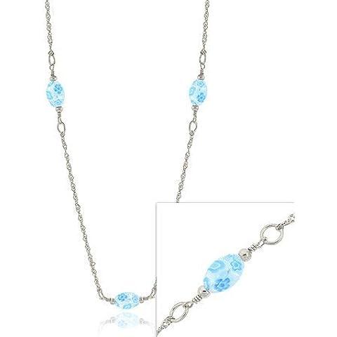 Sterling SilverSky Sterling, colore: blu, Vaso rotondo in stile veneziano con perline in vetro di Murano Millefiori Collana con fiore e