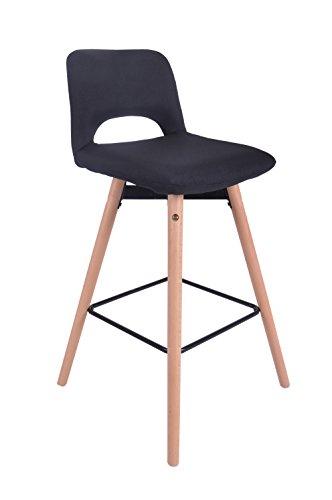 ts-ideen Design Classique Tabouret Chaise Rétro Années 50 Chaise de bar Cuisine Bistro Salon Salle à manger Siège Noir Bois