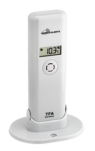 TFA Dostmann Weatherhub Thermo-Hygro-Sender, 30.3303.02, Kontrolle der Temperatur/Raumfeuchtigkeit, mit Display