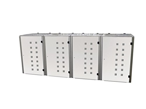 Mülltonnenbox Edelstahl, Modell Eleganza Quad11, 240 Liter, Viererbox in Weiß RAL 9016