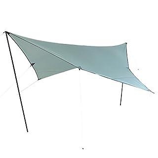 10T Arona Tarp 3x3 m Sonnensegel mit UV50+ Sonnenschutz Camping Sonnendach Outdoor Markise mit Aufstellstangen Abspannleinen Heringe, wasserdicht mit 2000mm Wassersäule