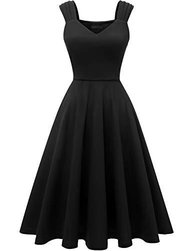 Dresstells Damen 1950er Midi Rockabilly Kleid Vintage V-Ausschnitt Cocktailkleid Faltenrock Black S Reißverschluss Kleid