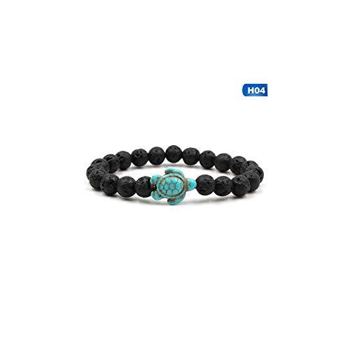 Awertaweyt Edelstein Perlen Armband Summer Style Sea Turtle Beads Bracelets for Women Men Classic 14 Colors Natural Stone Elastic Friendship Bracelet Beach Jewelry 04