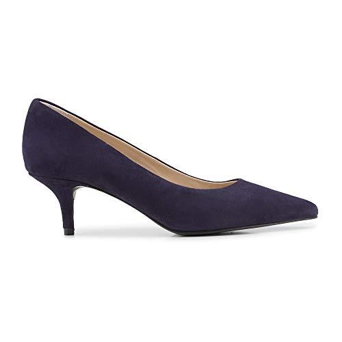 Cox Damen Damen Klassik-Pumps aus Leder, High-Heels in Schwarz mit Pfennig-Absatz blau Rauleder 40
