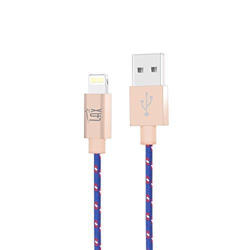 iPhone Ladegerät Kordel, Lax 6ft Lang MFI Apple Zertifiziert Schnell und stark Geflochtene Lightning Kabel für iPhone 7/7Plus/6S/6/SE/iPad Air 2/Air/Mini 4/Pro (Usb Retractable Cable Lightning)