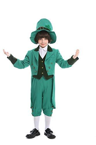 Fanessy. Jungen Mädchen Herren Damen Saint Patricks Leprechaun kostüm Kobold Kostüm Erwachsene Kinder Verkleidung Cosplay Outfit für Fasching Halloween Karneval - Jungen Kobold Kostüm