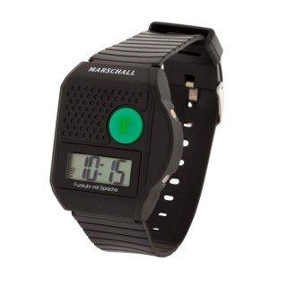 Digitale Funk Armbanduhr mit Sprachausgabe , sprechende Blindenuhr , Uhr schwarz mit Ansage von Uhrzeit und