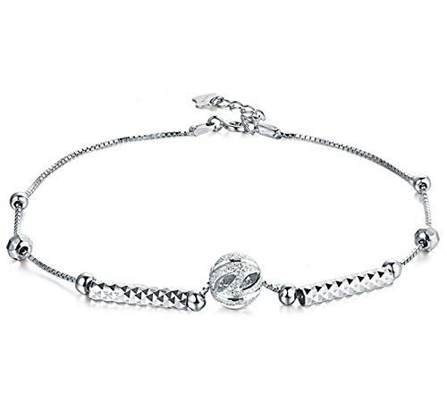 Beglie Damen Fußkette 925 Sterling Silber Ball Knöchel Fußkettchen Silber Geschenk für Damen