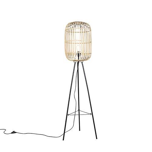 QAZQA Rustique/Rustique Lampadaire/Lampe de sol/Lampe sur Pied/Luminaire/Lumiere/Éclairage Rural en rotin - Manille/Acier Beige,Noir Oblongue/Rond/intérieur/Salon