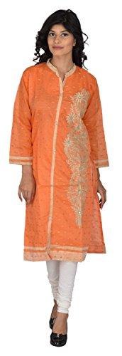 JYOTI CREATION Women's Cotton Straight Kurta (Orange, XL)