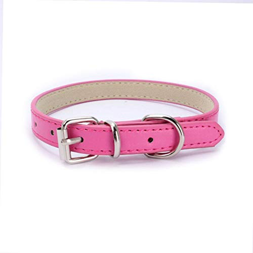 PENVEAT PU Leather Solid Soft Colorful Pet Dog Collar for Small Medium Large Dogs Neck Strap Adjustable Safe Puppy Kitten Cats Collar,Rose,1.0cm x 30cm -