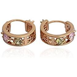 ELECTROPRIME Twinkling Circle Earrings 18K Gold Filled Lady Diamante Eardrop # International Bazaar