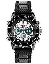 Globenfeld limited edition v12 orologio sportivo da uomo - display analogico & digitale - cassa nera in acciaio, cinturino silicone ultra resistente - garanzia 5 anni