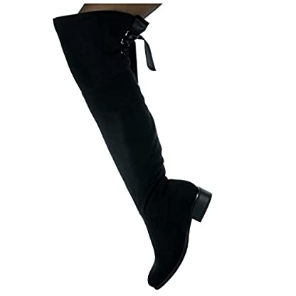 Angkorly - Women's Fashion Shoes Thigh Boot - Cavalier - Soft - Satin lace Block high Heel 3.5 cm 4