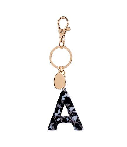 SIX Damen Schlüsselanhänger, Anhänger, Buchstaben, Initialien, A, Kreis, Karabiner, Marmor, Gold, weiß, schwarz (223-974)