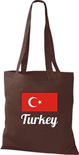 ShirtInStyle Stoffbeutel Baumwolltasche Länderjute Turkey Türkei Farbe Pink braun