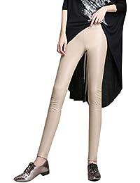 Hibote Leggings in Pelle a Vita Alta in PU Leggins in Pelle Skinny Sexy  Pantaloni Elasticizzati 9ddefe87da3a