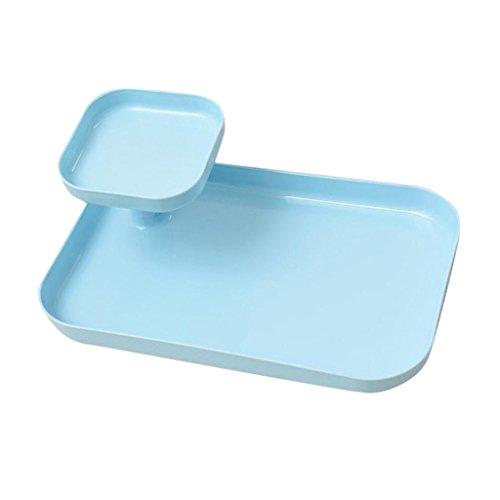 Käse-vitrine (WESEEDOO Vitrine Wattepad Aufbewahrungsbox Displayhalter für Bürstenlippe Desktop-Aufbewahrungsbox Lipgloss-Bürste mit Mehreren Fächern Vlies Blue)