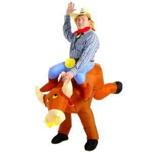Esecure – Inflatable Bull Riding Cowboy Costume Rodeo Fancy Dress Costume