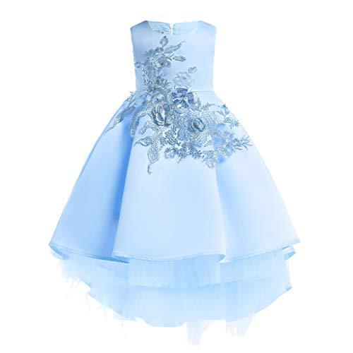 Livoral Mädchen Schönheit Kleid Blume Baby Prinzessin Brautjungfer Kleid Geburtstagsfeier Hochzeitskleid(Blau,100)