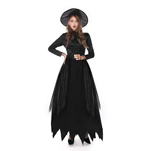 Schnee Kostüm Frau Hut Mit - YCLOTH Halloween Cosplay Kostüm, 2019 Hexe Rollenspiel Nachtclub Bühnenkostüm mit Hut, Bar Bühnenkostüm schwarz-Black-L